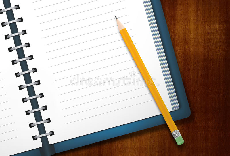 Diary and Pencil royalty free stock photo