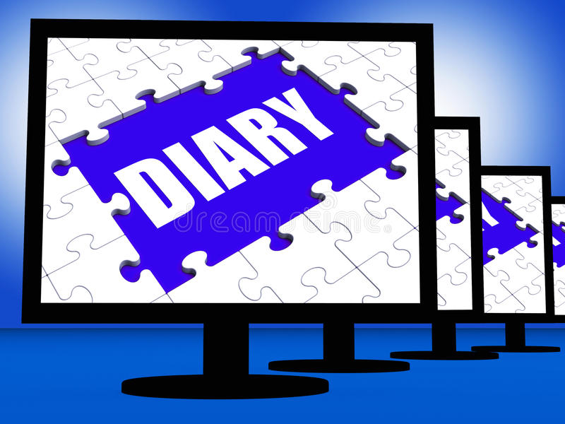 Diary Screen Shows Appointment Planner Planning Or Scheduler. Diary Screen Showing Appointment Planner Planning Or Scheduler stock illustration