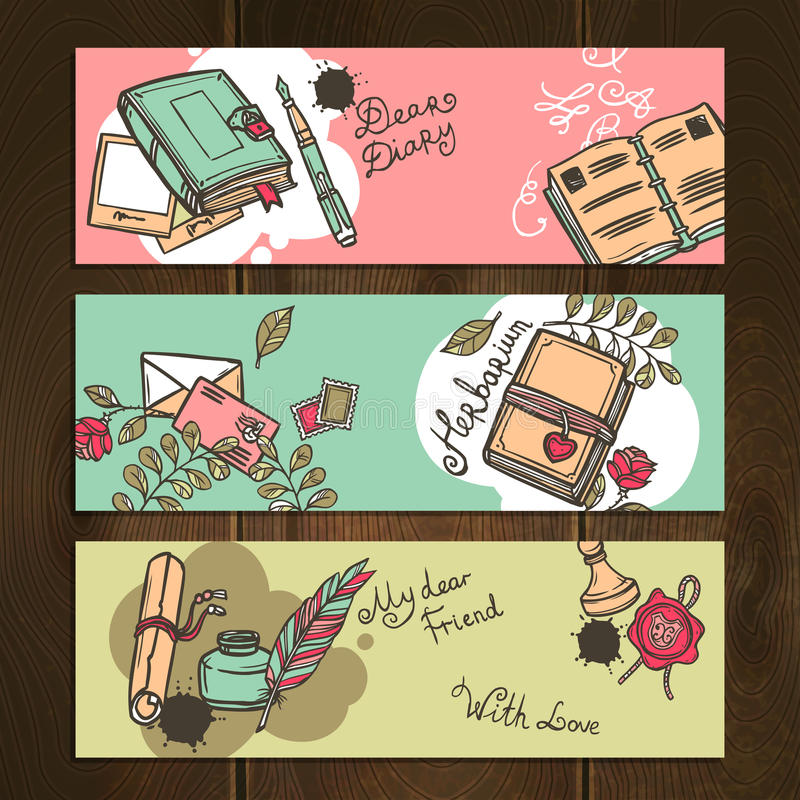 Diary Vintage Banners royalty free illustration