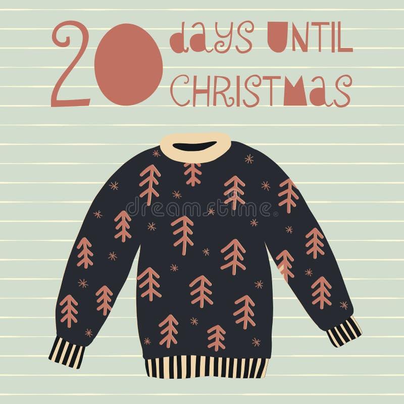 20 dias até a ilustração do vetor do Natal contagem de +EPS os dias 'até o quadro-negro do Natal ilustração do vetor