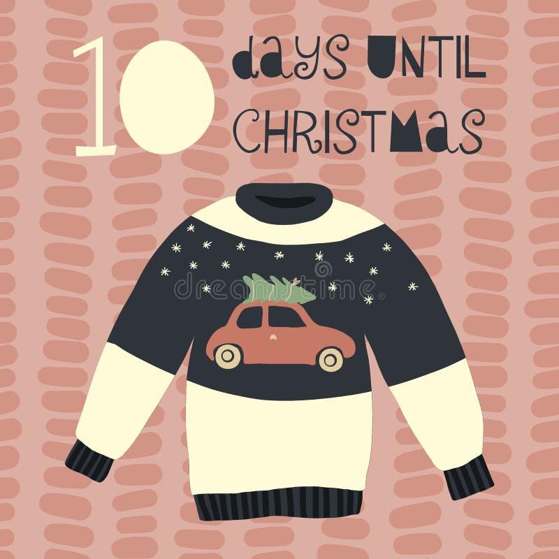 10 dias até a ilustração do vetor do Natal Contagem regressiva do Natal dez dias Estilo escandinavo do vintage Camiseta feia tira ilustração stock