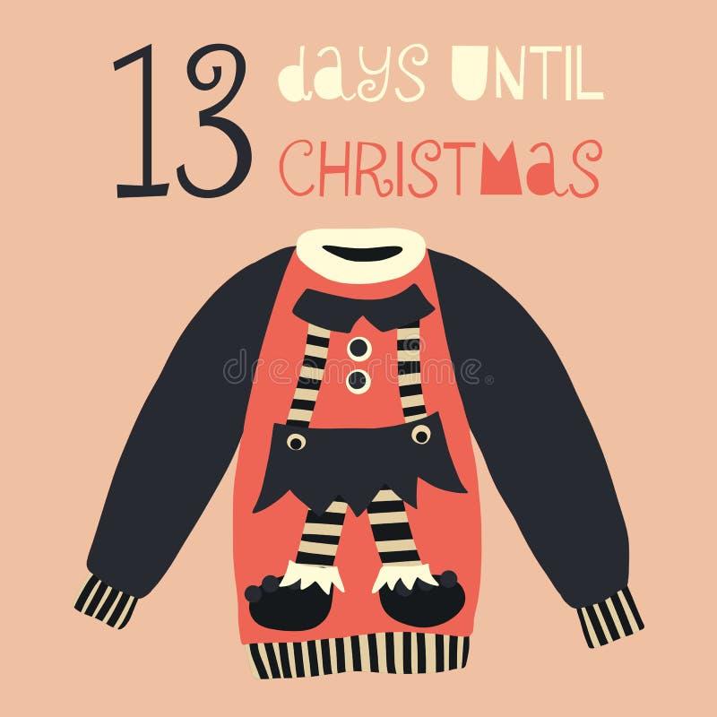 13 dias até a ilustração do vetor do Natal Contagem regressiva do Natal 13 dias Estilo escandinavo do vintage Camiseta feia tirad ilustração stock