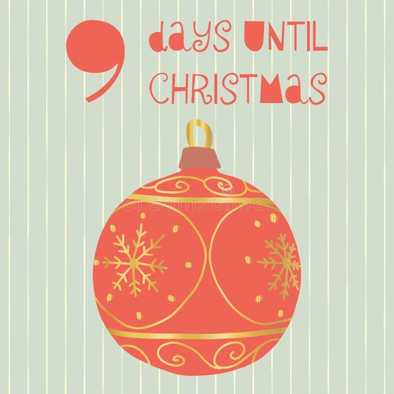 9 dias até a ilustração do vetor do Natal Contagem regressiva do Natal nove dias até Santa Estilo escandinavo do vintage Mão dese ilustração stock