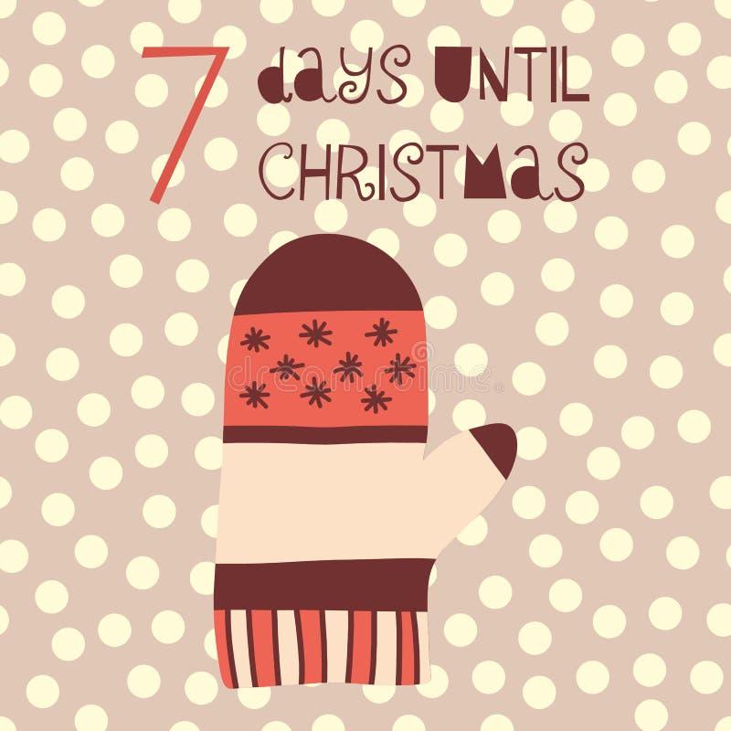 7 dias até a ilustração do vetor do Natal Contagem regressiva do Natal sete dias até Santa Estilo escandinavo do vintage Mão dese ilustração stock