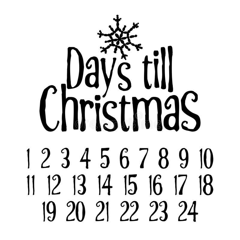 Dias até o Natal Contagem regressiva alegre do advento do Xmas ilustração royalty free