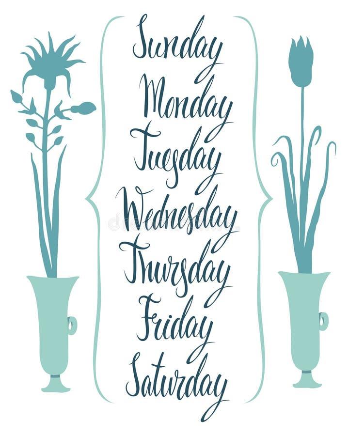 Dias da caligrafia da semana ilustração royalty free