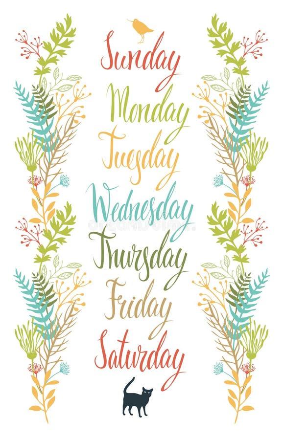 Dias da caligrafia da semana com flores ilustração do vetor