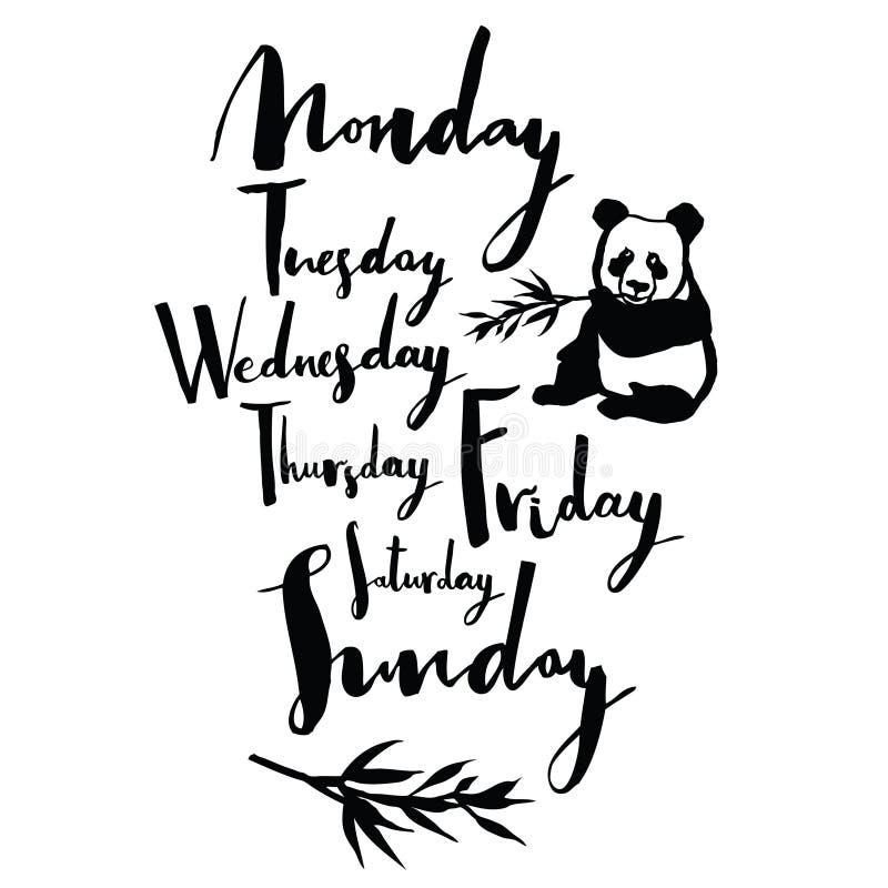 Dias da fonte da panda da caligrafia escrita à mão da semana ilustração stock