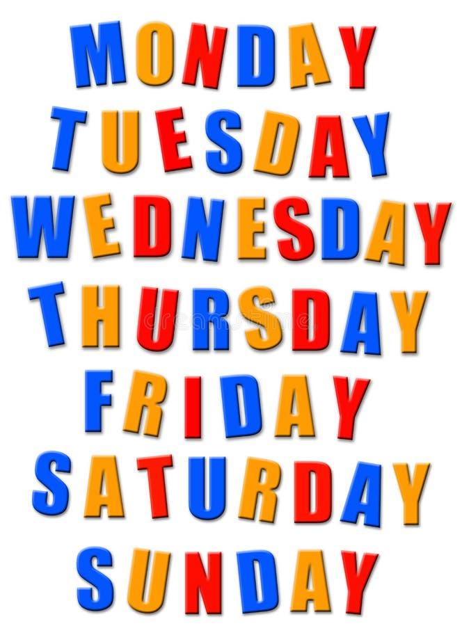 Dias da semana ilustração stock