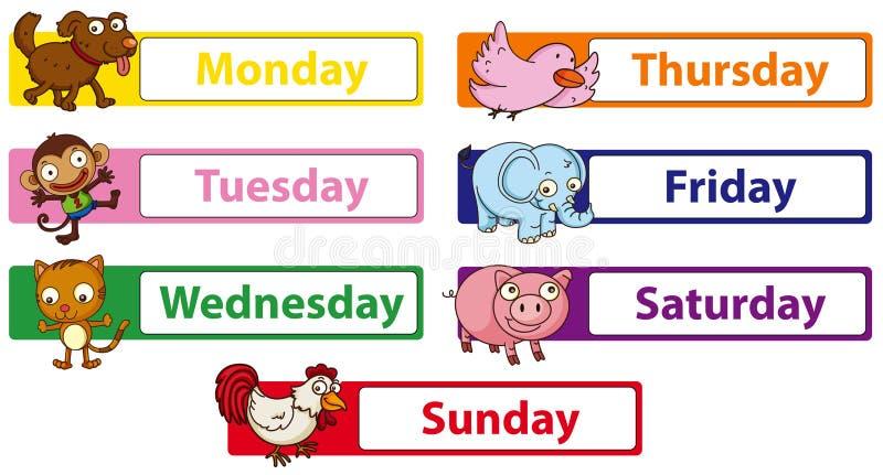 Dias da semana com os animais nos sinais ilustração royalty free