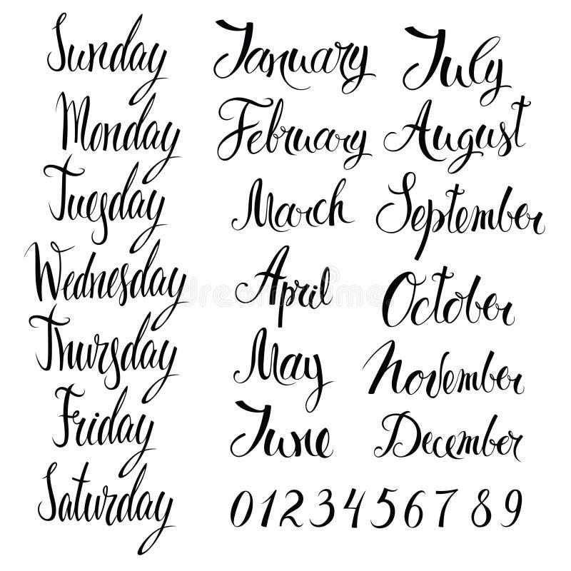 Dias da semana, de meses, e de números ilustração stock