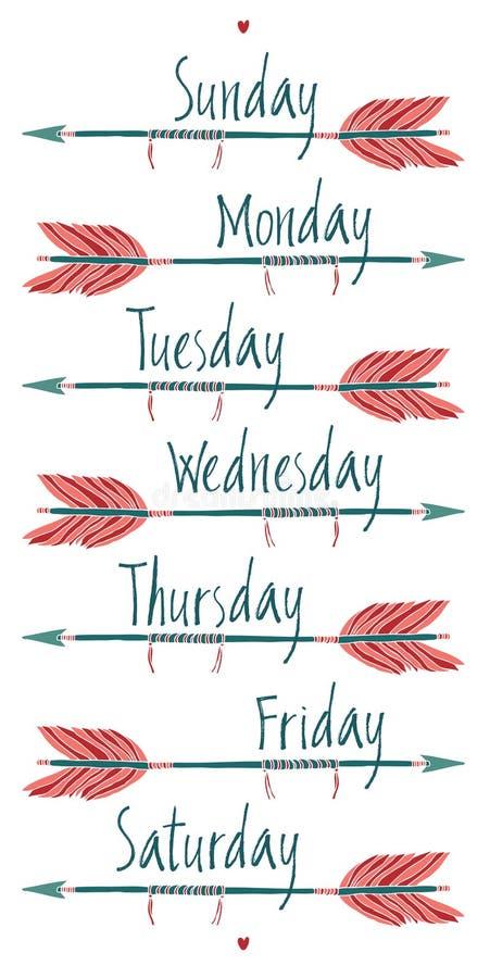 Dias da semana e de setas ilustração royalty free
