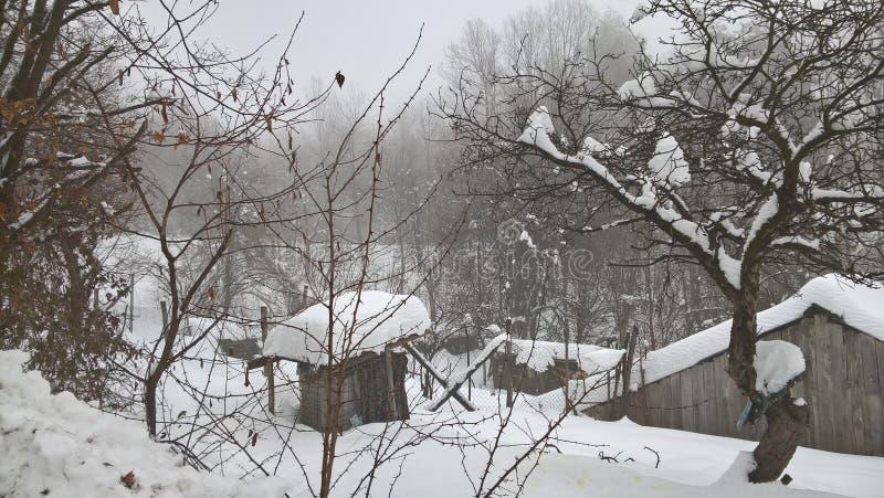 Dias de inverno surpreendentes na vila após uma neve bonita imagens de stock