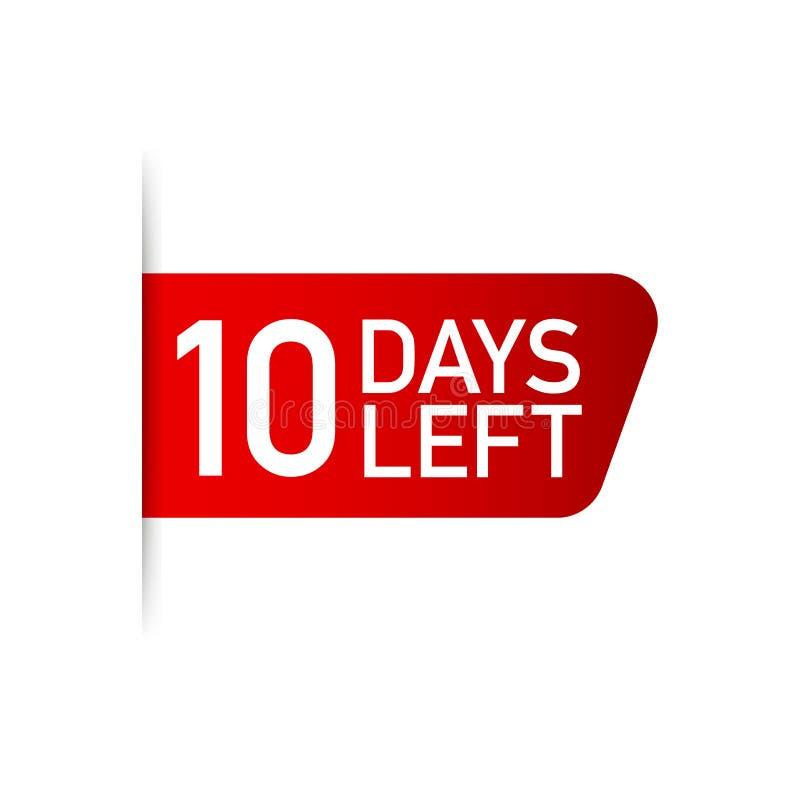 10 dias deixaram a etiqueta vermelha no fundo branco Ilustração do vetor ilustração do vetor