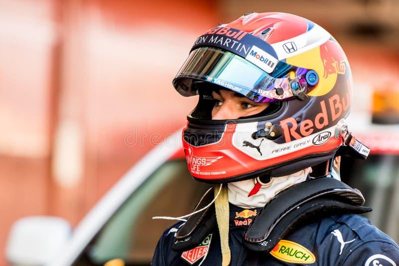 Dias 2019 do teste do Fórmula 1 - Pierre Gasly fotografia de stock royalty free