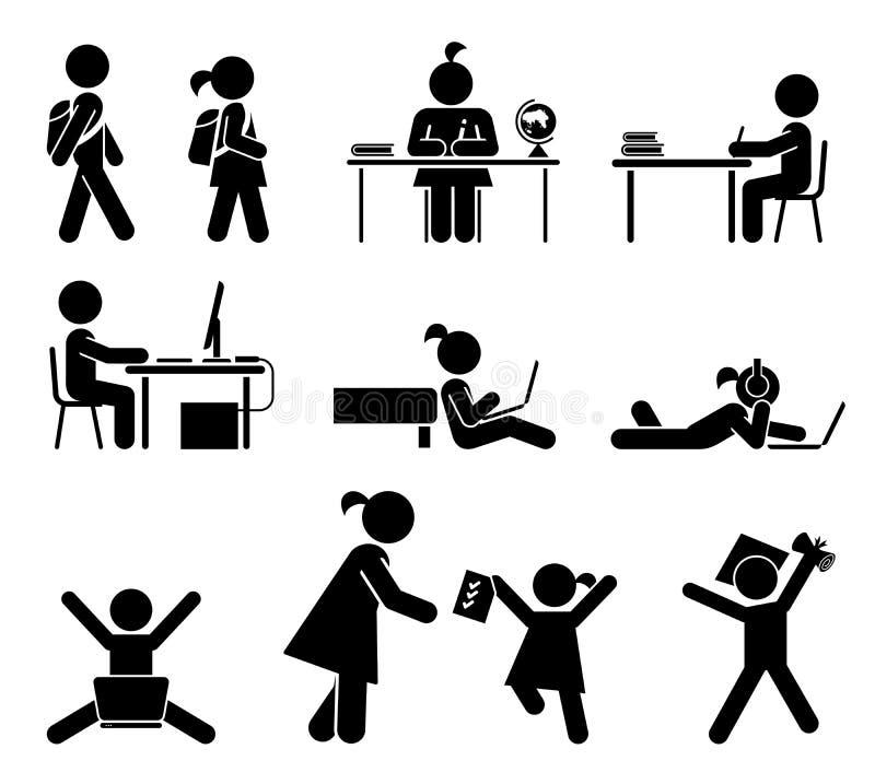 Dias escolares Grupo do ícone do pictograma Alunos ilustração royalty free