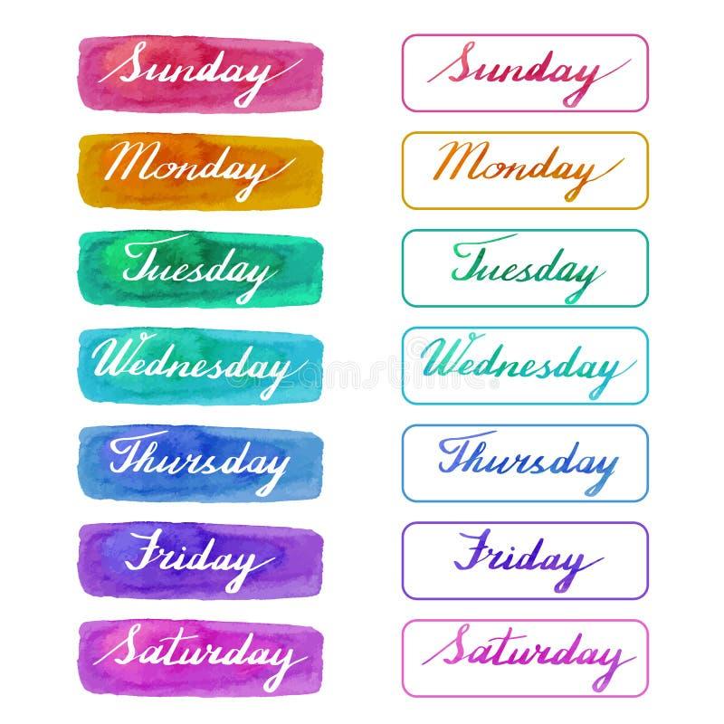 Dias escritos à mão da semana ilustração do vetor