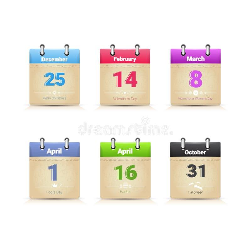 Download Dias Tradicionais Principais Do Feriado Da Coleção Da Página Dos Dados Do Calendário Ajustados Ilustração do Vetor - Ilustração de calendário, outono: 80101261