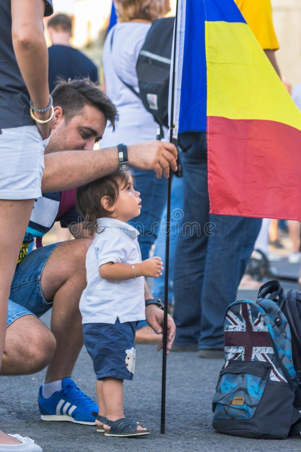 Diaspora protest in Bucharest against the government. stock images
