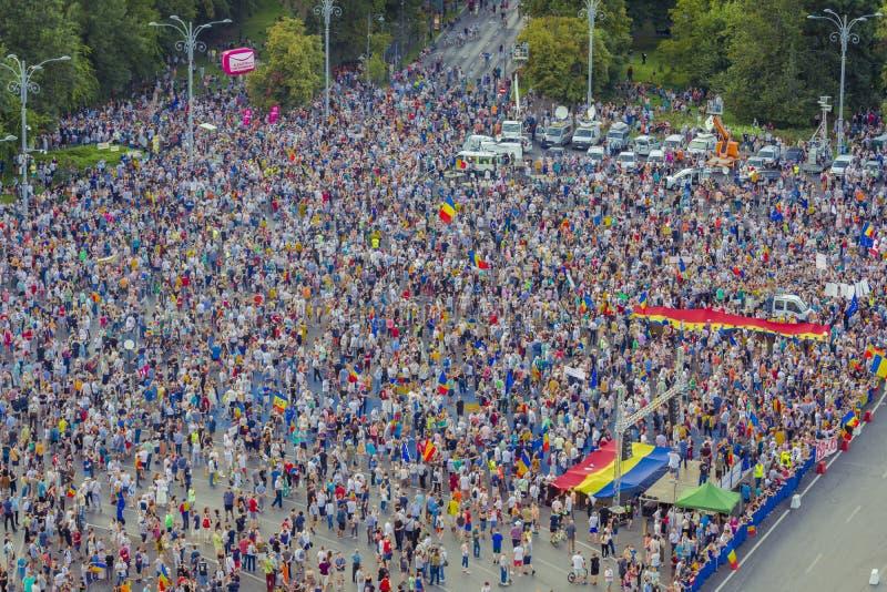 Diaspora protest w Bucharest przeciw rz?dowi fotografia stock