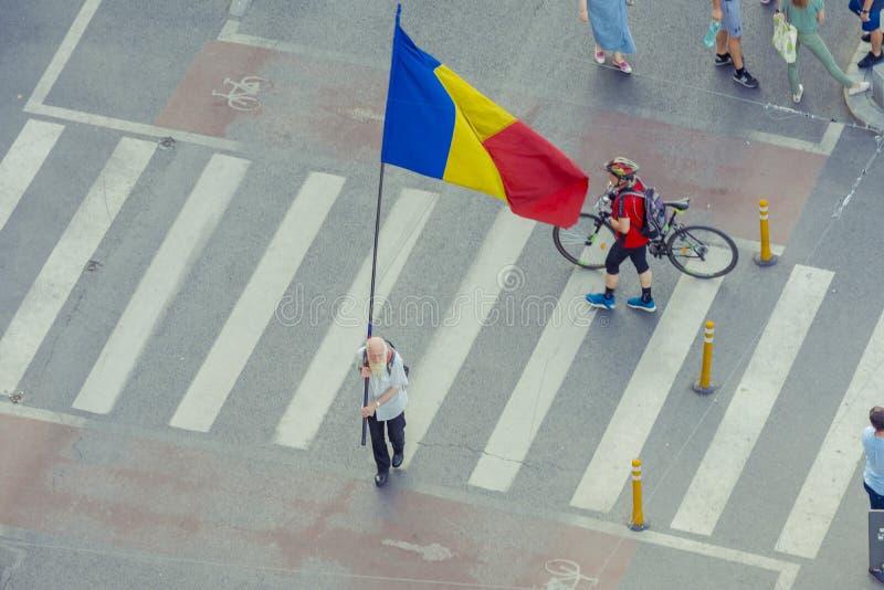 Diaspora protest w Bucharest przeciw rz?dowi zdjęcie stock