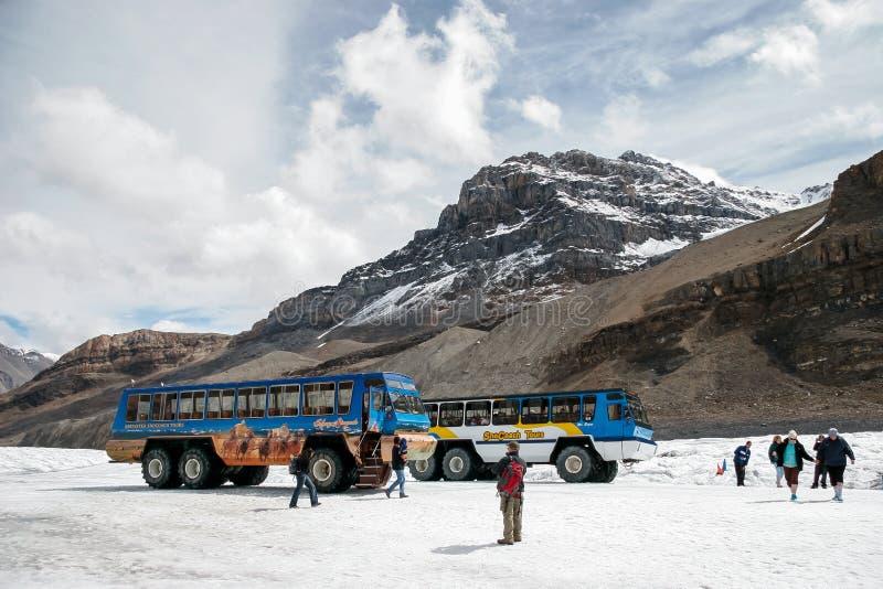 DIASPRO, ALBERTA/CANADA - 9 AGOSTO: Vetture della neve parcheggiate su A fotografia stock libera da diritti