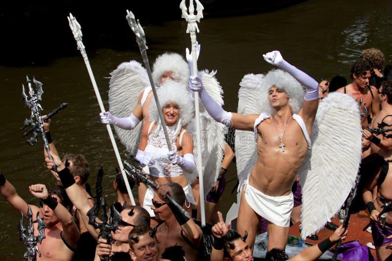 Diavoli & angeli (parata Amsterdam, 2008 del canale) immagini stock