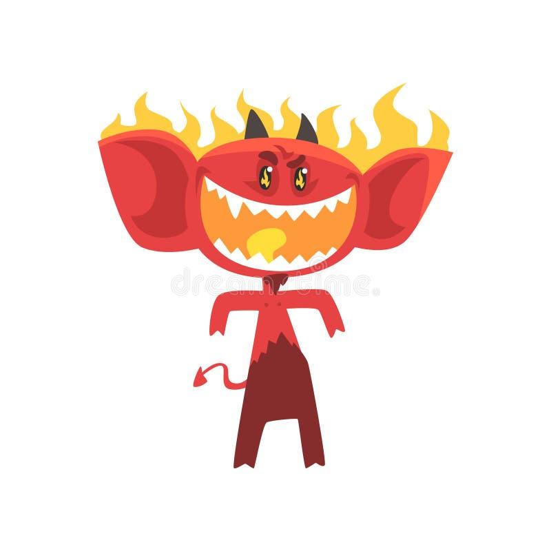 Diavolo ardente del fuoco del fumetto isolato su bianco Carattere rosso arrabbiato del mostro con gli occhi brillanti, le grandi  illustrazione di stock