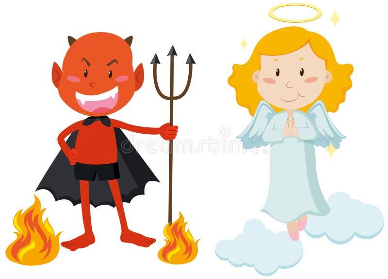 Diavolo con il tridente ed il volo di angelo illustrazione di stock