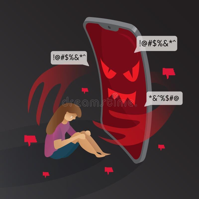 diavolo del telefono di cyberbullismo con le illustrazioni grafiche di vettore del fondo triste della ragazza royalty illustrazione gratis