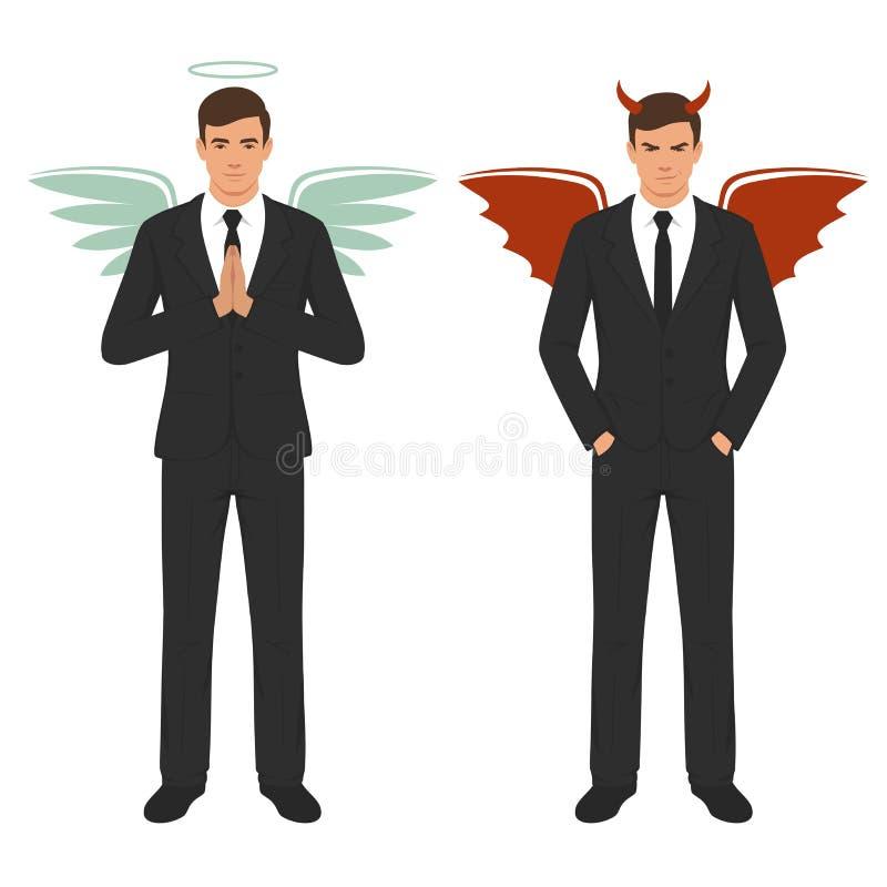 Diavolo ed angelo del fumetto, buona e cattiva scelta, ali, corni ed alone illustrazione di stock