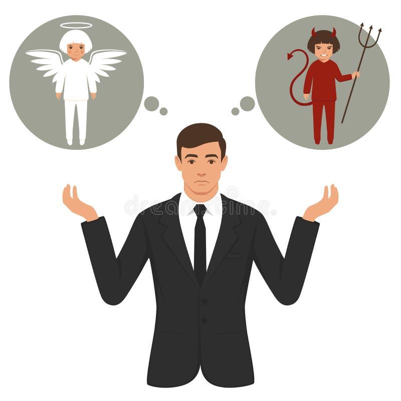 Diavolo ed angelo del fumetto, buona e cattiva scelta, ali, corni ed alone royalty illustrazione gratis