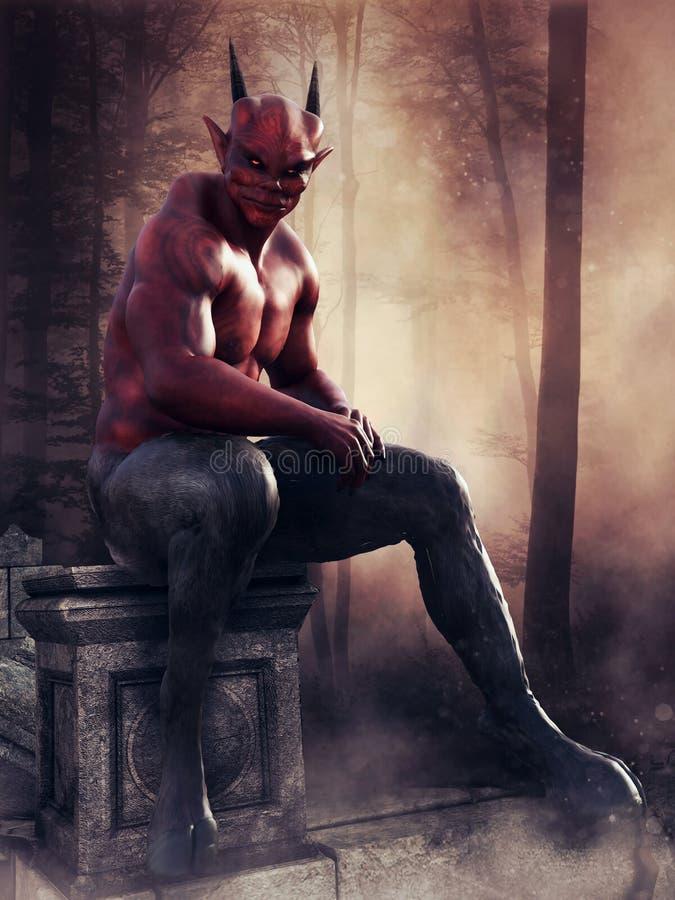Diavolo rosso che si siede su una pietra illustrazione di stock