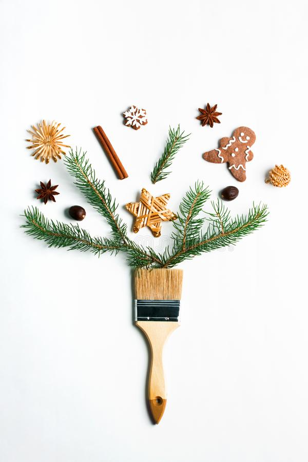 Dibújeme concepto creativo de la composición de las vacaciones de invierno del Año Nuevo de la Navidad foto de archivo libre de regalías