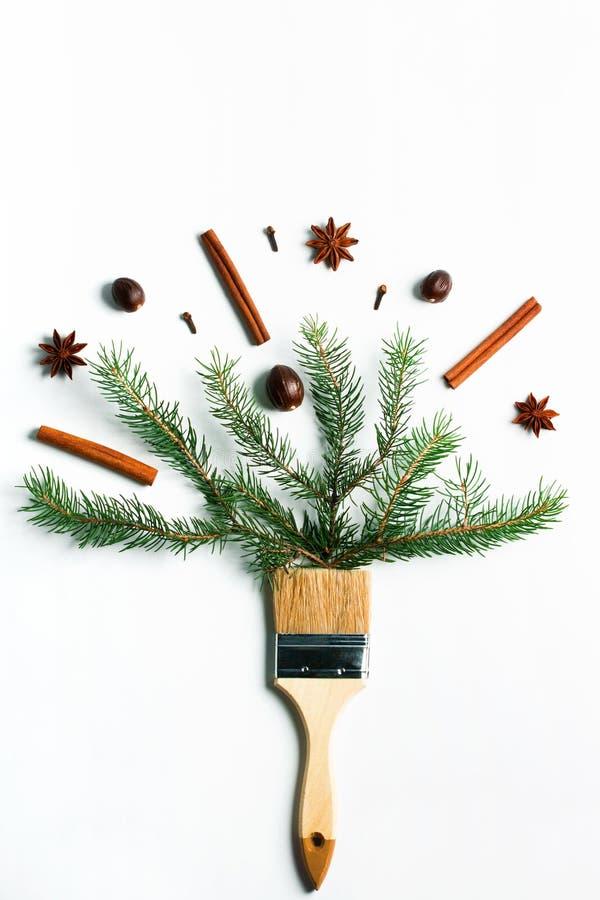 Dibújeme concepto creativo de la composición de las vacaciones de invierno del Año Nuevo de la Navidad fotografía de archivo