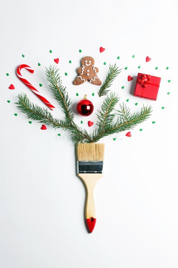 Dibújeme concepto creativo de la composición de las vacaciones de invierno del Año Nuevo de la Navidad fotos de archivo libres de regalías