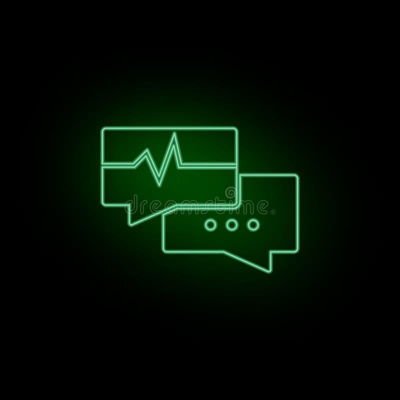 Dibattito, icona, cardiogramma, conversazione, bolla, neon Biotecnologia e scienza, laboratorio chimico Può essere l'uso infograp illustrazione di stock