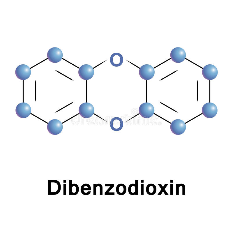 Dibenzodioxin heterocyclic organic compound stock illustration