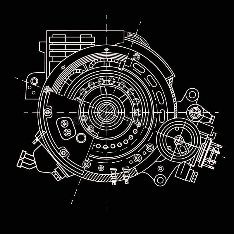 Dibujando el motor eléctrico seccione la representación de la estructura interna y de los mecanismos Puede ser utilizado para ilu stock de ilustración