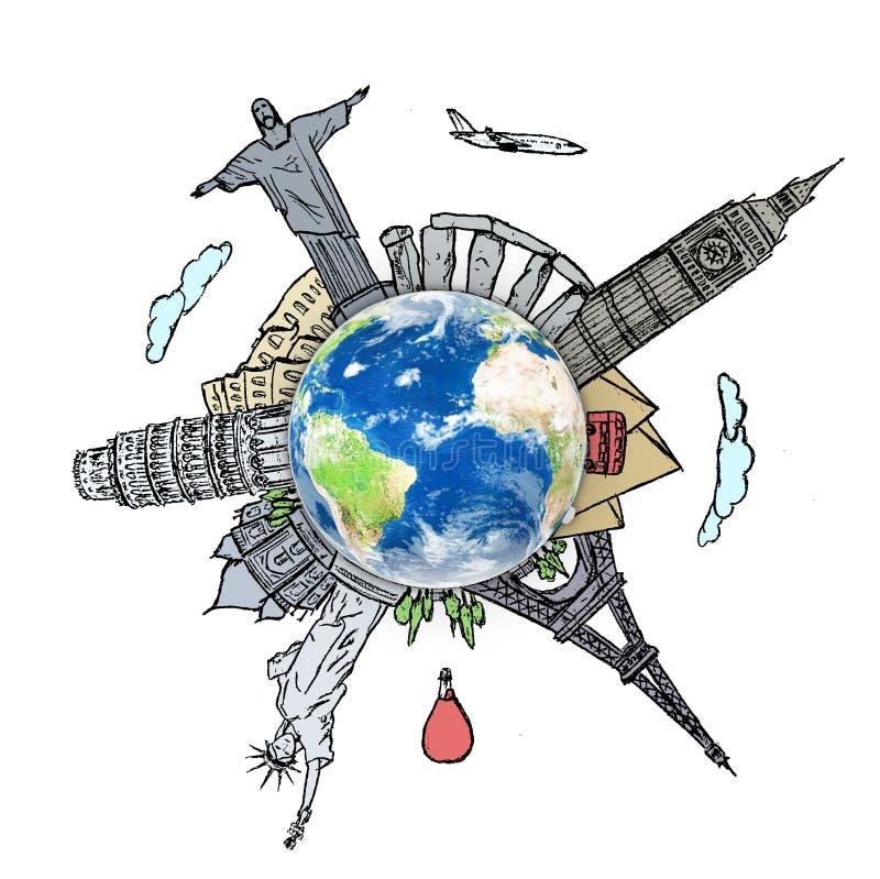 Dibujando el viaje ideal en todo el mundo en un whiteboard foto de archivo libre de regalías
