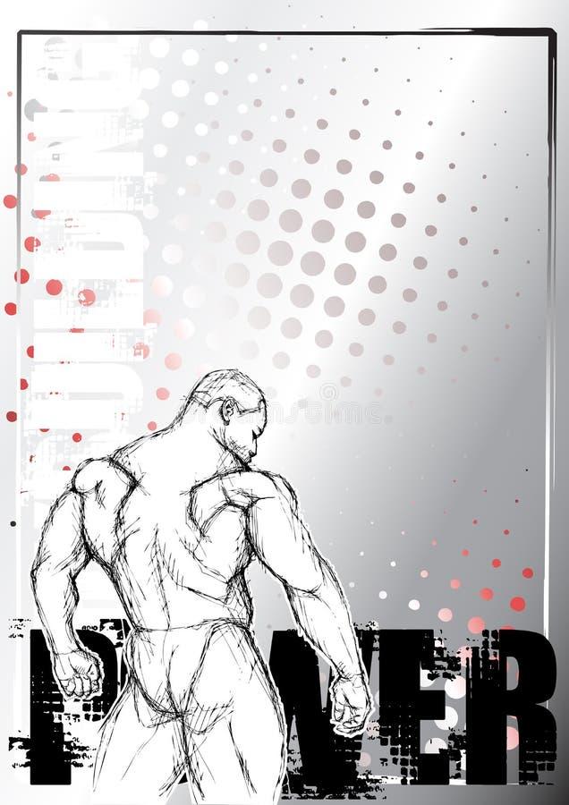 Dibuje a lápiz el bodybuilding que bosqueja el fondo stock de ilustración