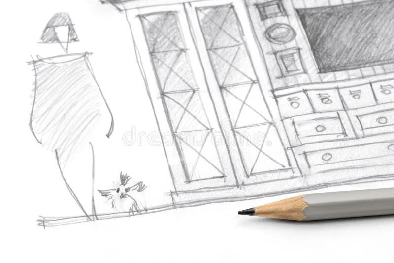 Dibuje a lápiz el bosquejo de una paz de los muebles de la sala de estar con el lápiz imagen de archivo
