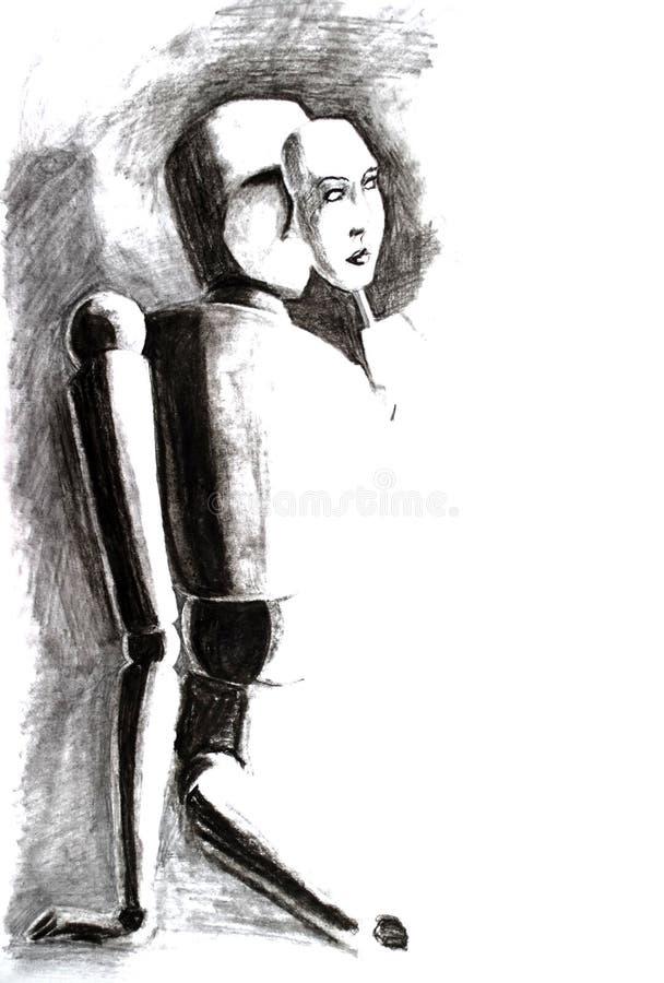 Dibuje a lápiz el dibujo, el maniquí sienta y pone encendido una máscara con a sirve la cara stock de ilustración