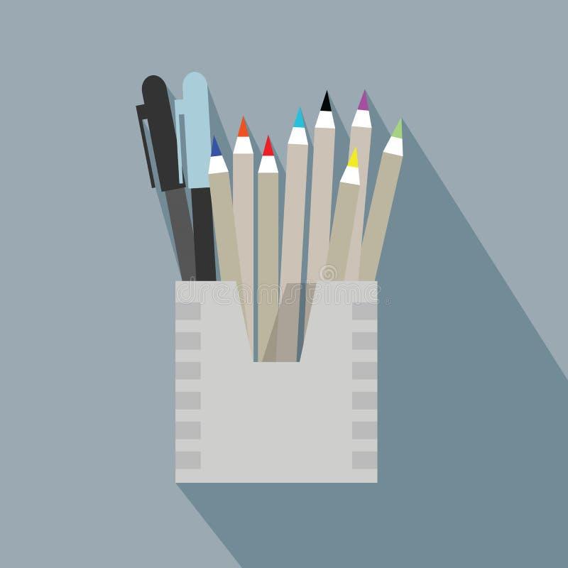 Dibuje a lápiz el icono de la caja del tenedor y del organizador con sha largo stock de ilustración