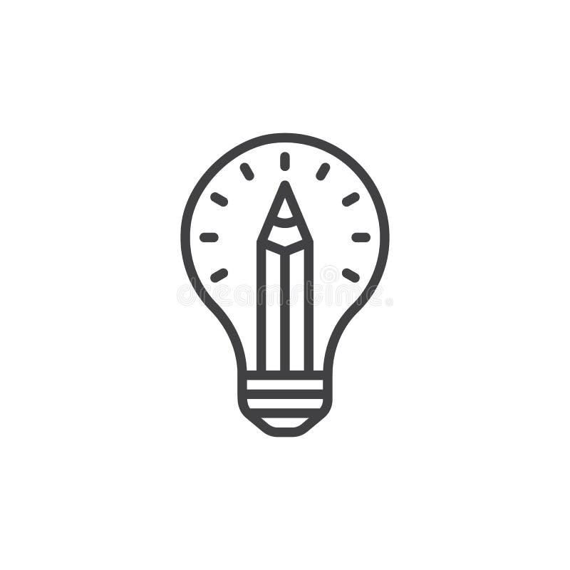 Dibuje a lápiz en la línea icono, muestra del vector del esquema, pictograma linear de la bombilla del estilo aislado en blanco libre illustration