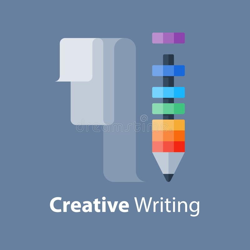 Dibuje a lápiz la idea, concepto creativo de la escritura, taller del diseño, mejora de la habilidad, curso de la narración ilustración del vector
