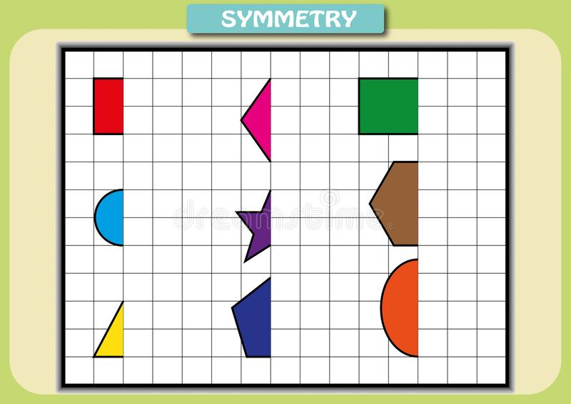 Dibuje la otra mitad de cada las imágenes simétricas ilustración del vector