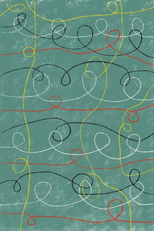 Dibujo abstracto de Digitaces de las líneas coloridas que se entrecruzan en fondo de la turquesa libre illustration