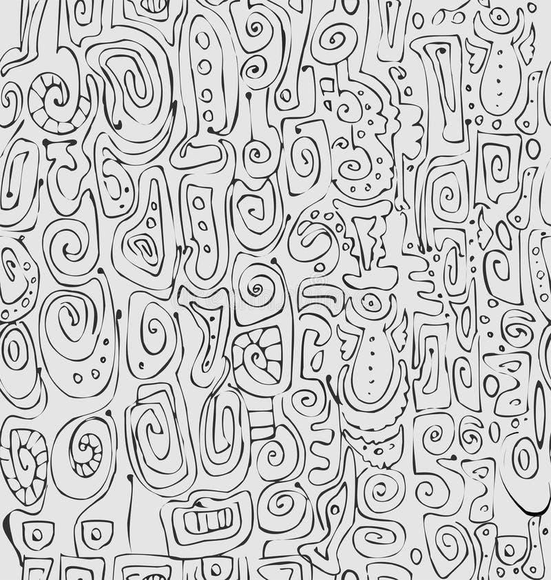 Dibujo abstracto de la carta blanca del ornamento stock de ilustración