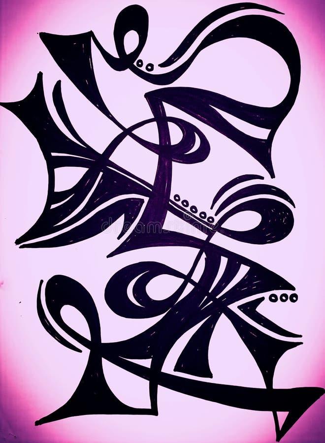 Dibujo abstracto de la mano que fue inspirado bailando a la mujer imagen de archivo